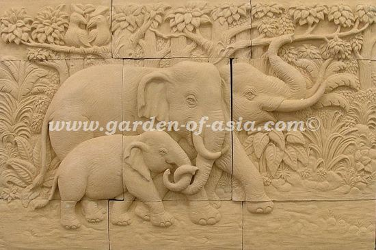 Sandstone Wall Art, Sandstone Wall Relief, Made in Thailand | Garden ...