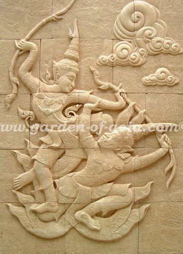 Sandstone Wall Art, Sandstone Wall Relief, Made in Thailand | Garden ...