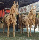 GA teak horses wood art